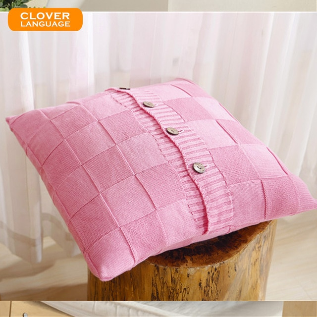 100% Cotton Cushion Cover Retro Style Knitted Cushions Checkered