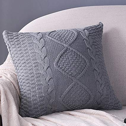 Amazon.com: Fashion Cotton Cable Knit Pillow,Cushion,Double Side