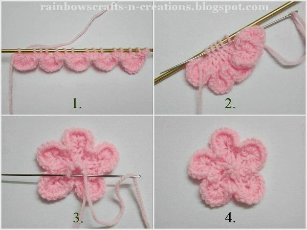 Rainbow's Crafts and Creations: Knitted flowers
