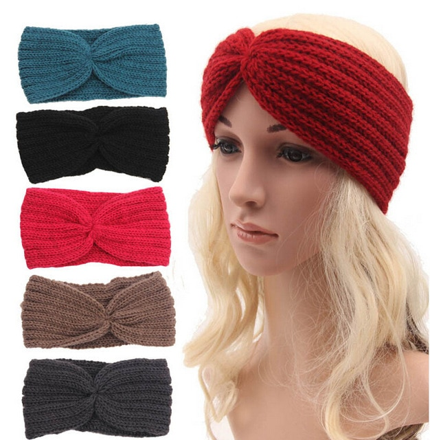 Wholesale Women's Knitted Wide Headband Knit Hair Band Headbands