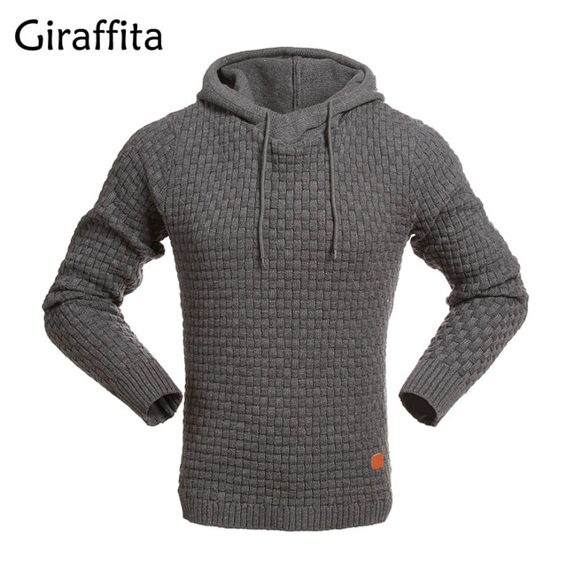 Giraffita Autumn Winter Thicken Hoodie Men Knitted Pullover Hooded