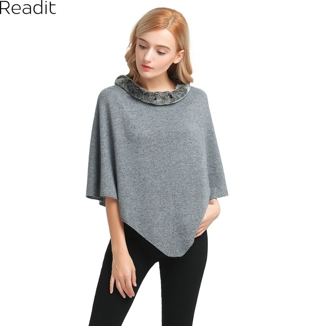 Readit Winter Womens Poncho and Cape Fur Collar Poncho Sweater Women