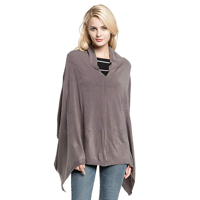 Vankerful Women's Faux Cashmere Acrylic Knitted Poncho Solid Wrap
