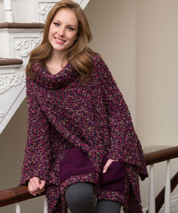 Cozy Pocketed Knit Poncho | AllFreeKnitting.com