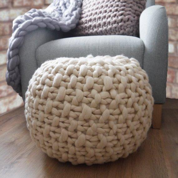White knitted pouf ottoman footstool cream pouffe ottoman | Etsy