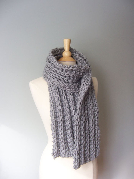 Knit Scarf Pattern- Chunky Scarf Pattern- Easy Knit Pattern- Womens