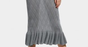 2019 High Waist Ruffle Hem Knitted Skirt In GRAY ONE SIZE | ZAFUL