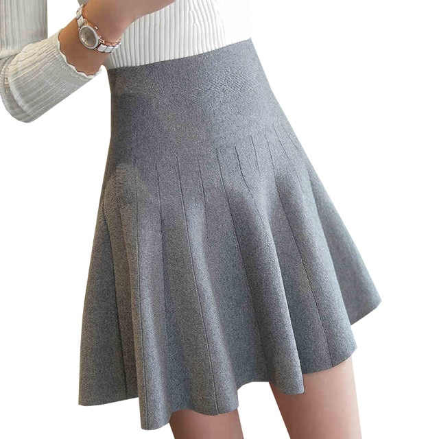 New Women Knitted Skirt Autumn Winter Sexy Solid High Waist Short