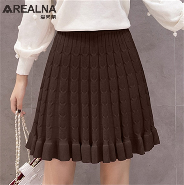 2018 Women Autumn Winter Knitted Skirt Elastic High Waist Short