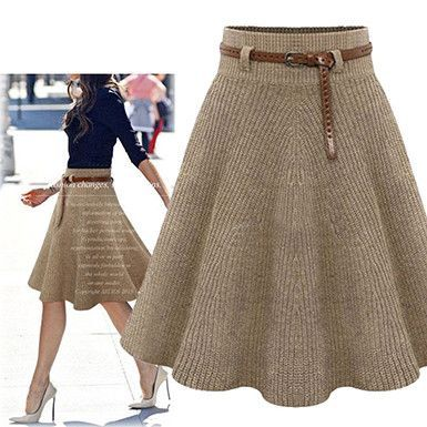 Khaki A Line Knitted Skirt | clothing | Knitting, Crochet, Knit skirt