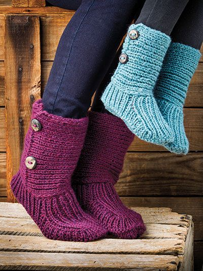 Slipper Socks and Boots Knitting Knitting Patterns - In the Loop