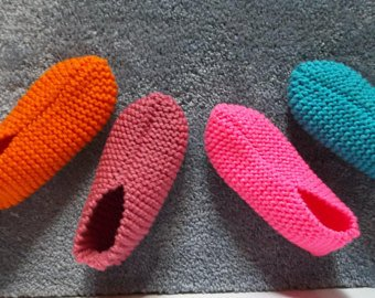 Knitted slippers | Etsy