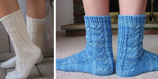 Owlie Knitted Socks With Beads [FREE Knitting Pattern]