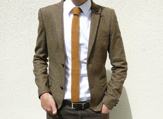 Skinny Knitted Tie in Golden Mustard Brown Lambswool MADE TO | Etsy