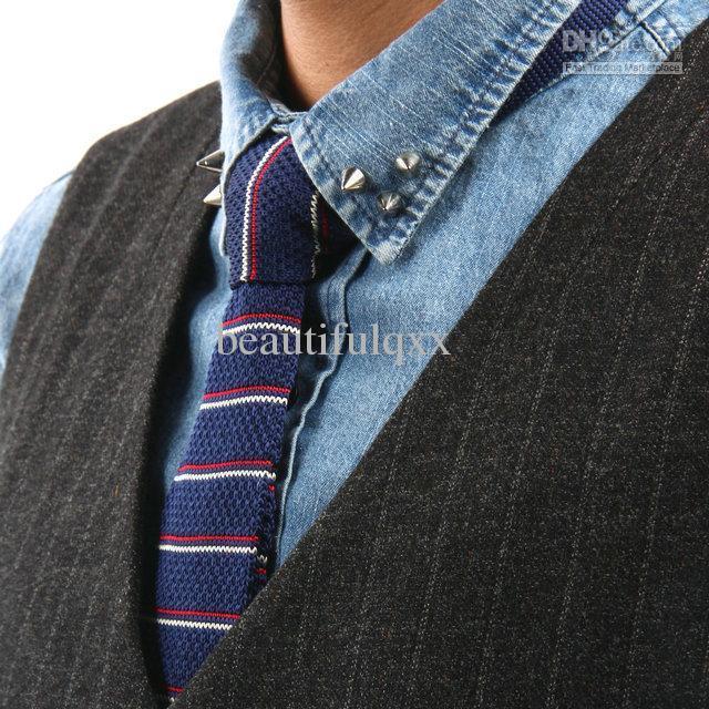 Knitted Ties Striped Ties Men's Neck Tie Wool Ties Slim Ties Skinny