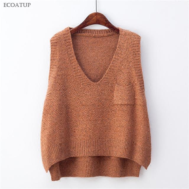 Deep V Neck Sweater Vest For Women Preppy Style Retro Oversize