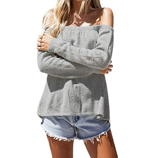 Womens Winter Sweaters Sexy Backless Bandage Knitted Tops Off