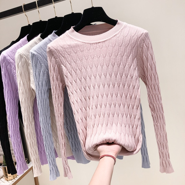 2018 New Fashion Women Knitted Tops Autumn Winter Pullovers Sweaters