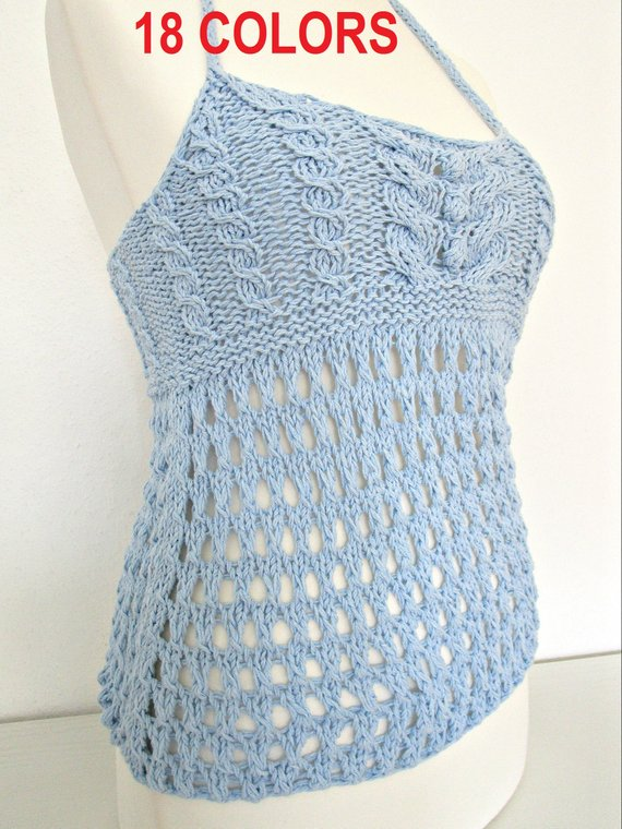 Knitted tops for women cotton top Knitted summer top Trend   Etsy