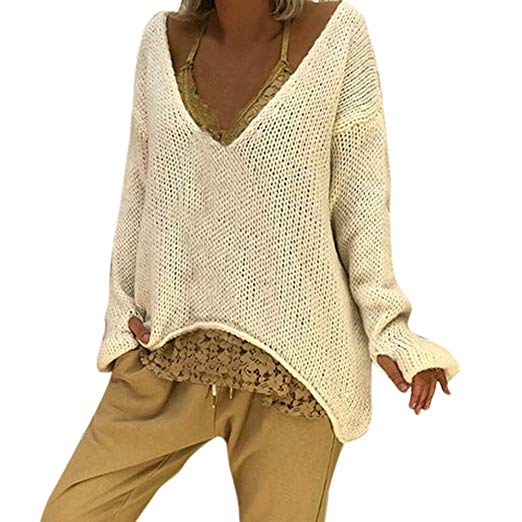 Women Long Sleeve V Neck Baggy Sweater Casual Autumn Winter Knitted
