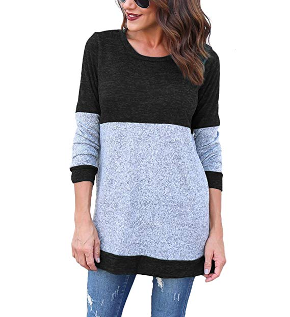 Annystore Womens Long Sleeve Knitted Tunic Tops Lightweight Pullover
