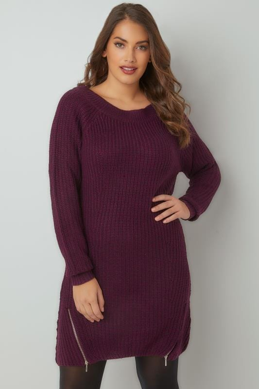 Purple Chunky Knit Tunic Dress With Zip Hem, Plus size 16 to 36