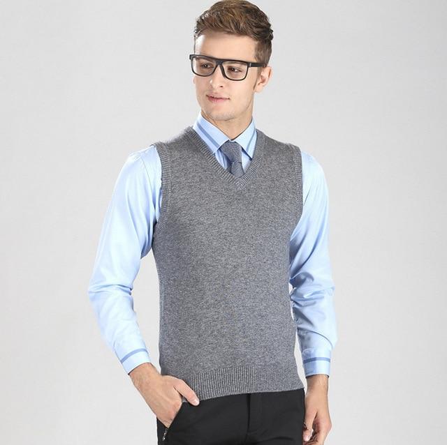2017 New 35%Wool V Neck Men sleeveless knitted Vest Business casual