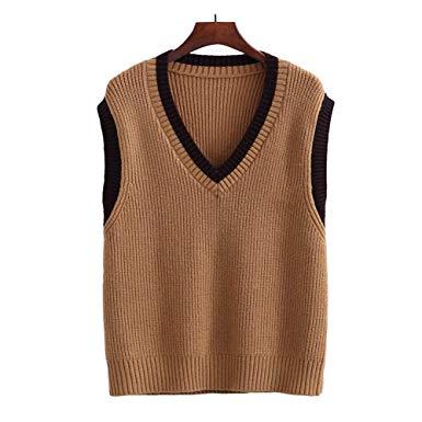 Amazon.com: Bingooutlet Women Girls V-Neck Knitted Vest Casual