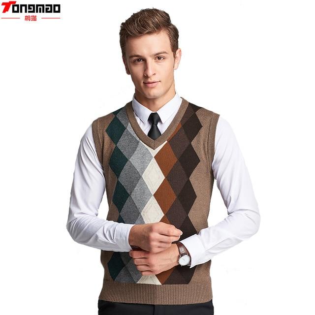 Autumn Men's Business Wool V neck Sleeveless Knitted Vest Fashion