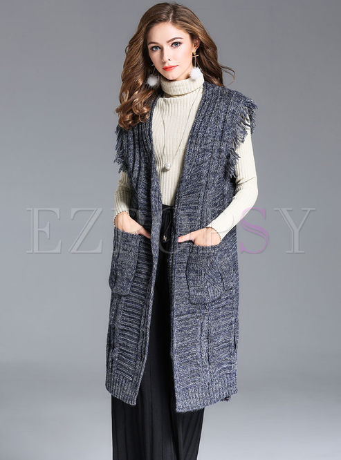 Outwear | Vests | Causal V-neck Sleeveless Loose Knitted Vest