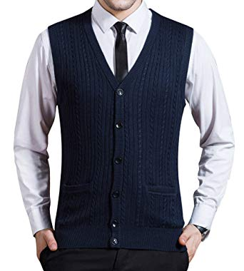 Zicac Men's Business Solid Button Knitwear Sweater Vest Sleeveless