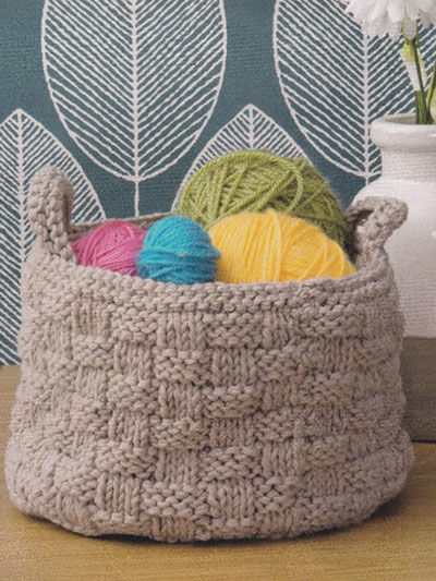 Home Decor Knitting Downloads - Basket Stitch Container Knit Pattern