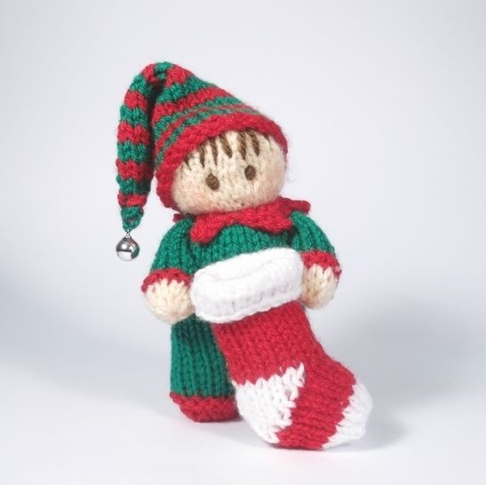 Christmas Boy Elf Bitsy Baby Doll Knitting Pattern