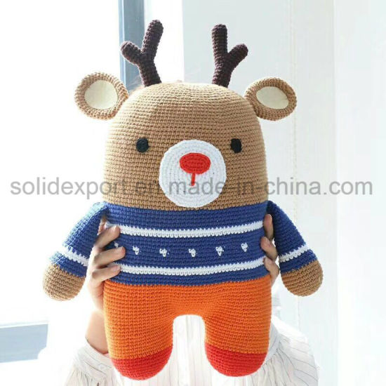 China Wholesale Lovely Deerlet Stuffed Knit Doll Soft Knitted Doll