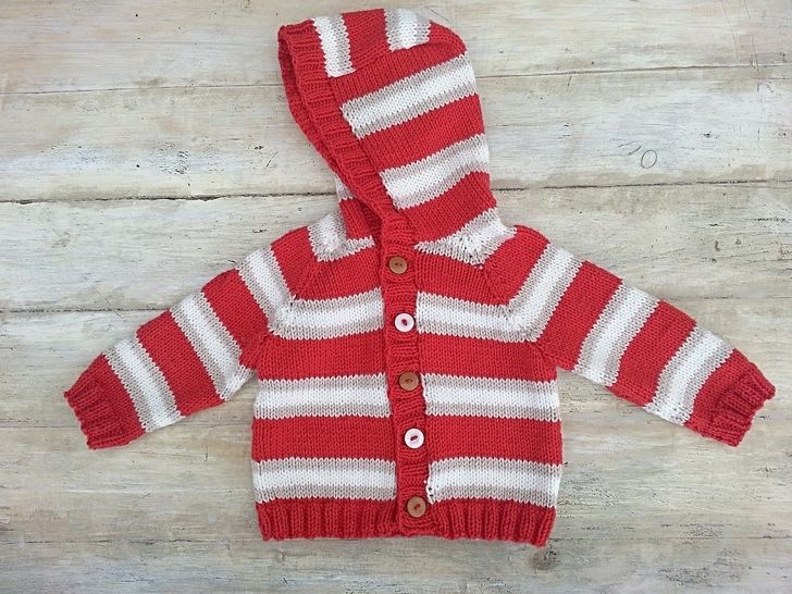 Kids Striped Raglan Sweater, Cardigan, Optional Hood , 6 Sizes