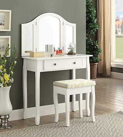 Amazon.com: Roundhill Furniture Sunny White Wooden Vanity, Make Up