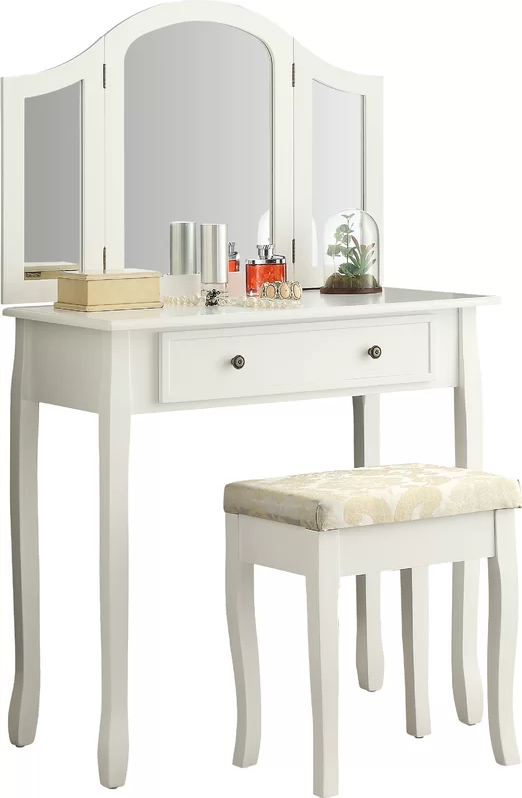 Roundhill Furniture Sunny White Wooden Vanity, Make Up Table and