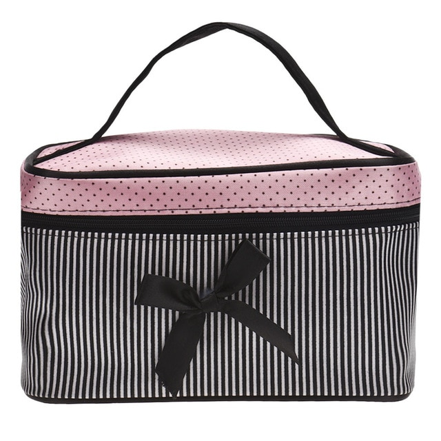 Cosmetic Bag Make up Bags Travel Makeup bag Square Bow Striped