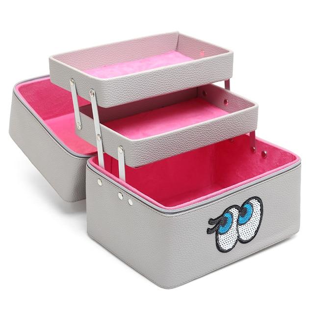 Korean Women Cosmetic Bag Professional Large Capacity Makeup Box