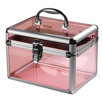 China Pink fashion aluminum acrylic display box storage makeup nail