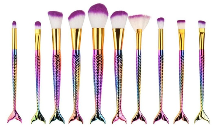 Up To 86% Off on Mermaid Makeup Brush Set | Groupon Goods