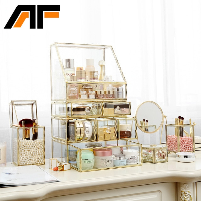 AF Luxury Large Makeup Storage Glass Et Metal Edge Cosmetics