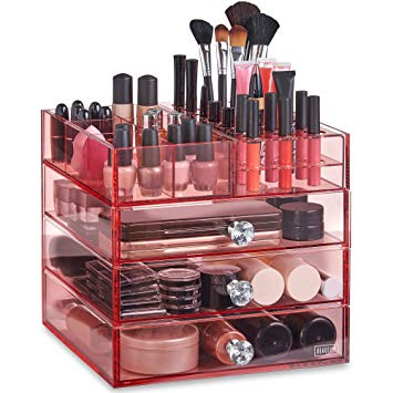 Amazon.com: Beautify Large 4 Tier Blush Pink Acrylic Cosmetic Makeup