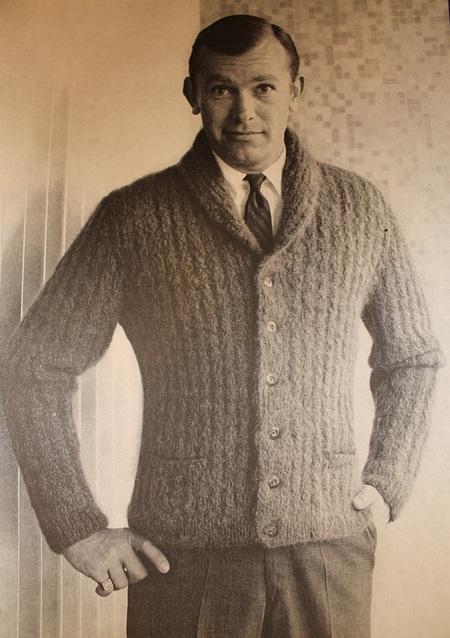 Hipster Vintage Knitting Pattern Men's Mohair Cardigan - Mad Men