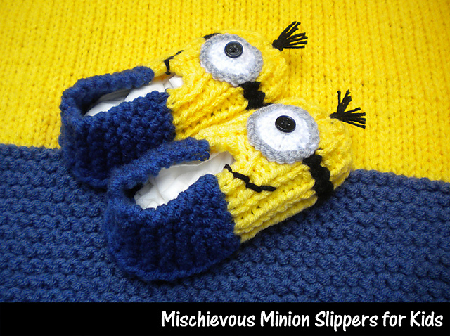 Ravelry: Mischievous Minion Slippers for Kids pattern by Aunt
