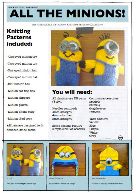 Millions of Minions! A Set of 10 Minion Knitting Patterns | Products