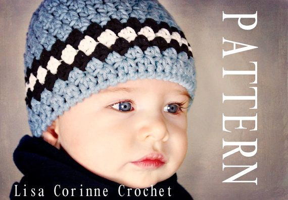 Baby Boy Hat PATTERN PDF - Striped Beanie Cap - Easy Modern Crochet