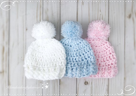 Newborn hat crochet hat crochet baby hat baby hat pom pom | Etsy