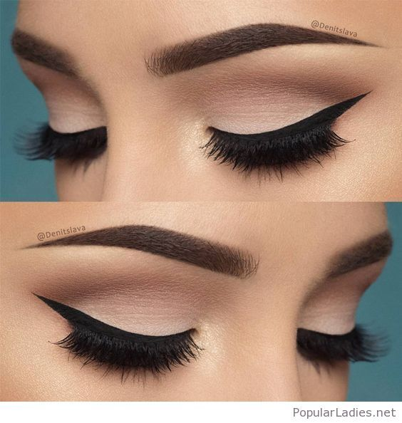 Awesome nude eye makeup with black accents