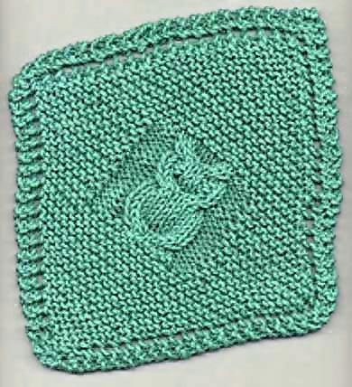 Knitting Patterns Galore - Diagonal Owl Dishcloth